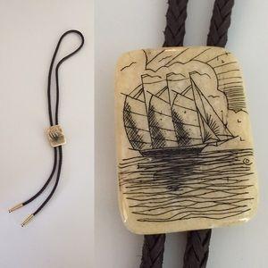 Scrimshaw Ship Bolo Tie